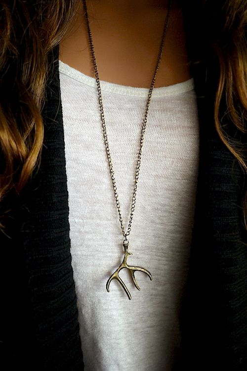 Antler Pendant Necklace -- The perfect long necklace for a t-shirt and jeans outfit.