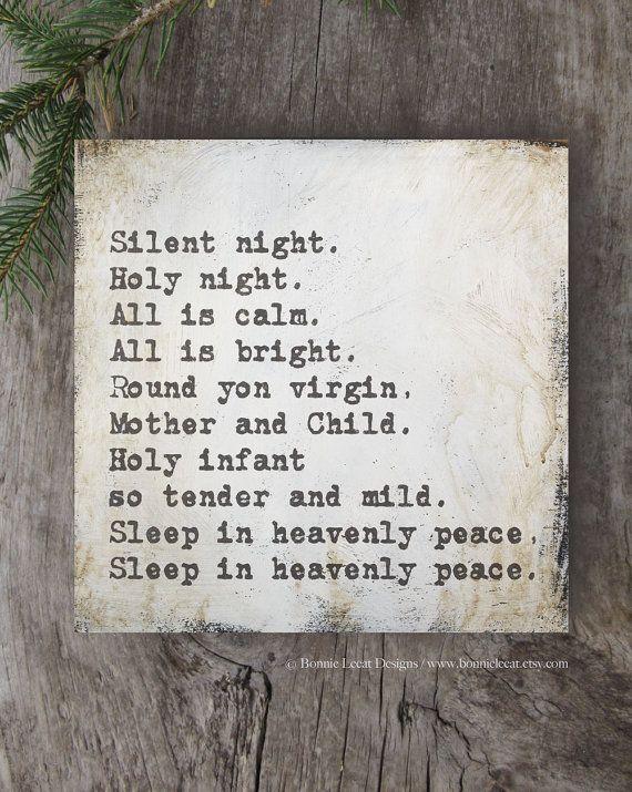 Silent Night Print, Christmas Song Art, Silent Night Lyrics, Shabby Chic Christmas Decor, White Christmas, Hand Painted Christmas Signs