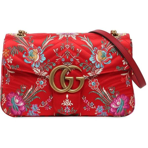 Gucci Women Medium Gg Marmont 2.0 Tokyo Print Bag (8487325 PYG) ❤ liked on Polyvore featuring bags, handbags, shoulder bags, red, red quilted handbag, red shoulder bag, print purse, red purse and single strap shoulder bag