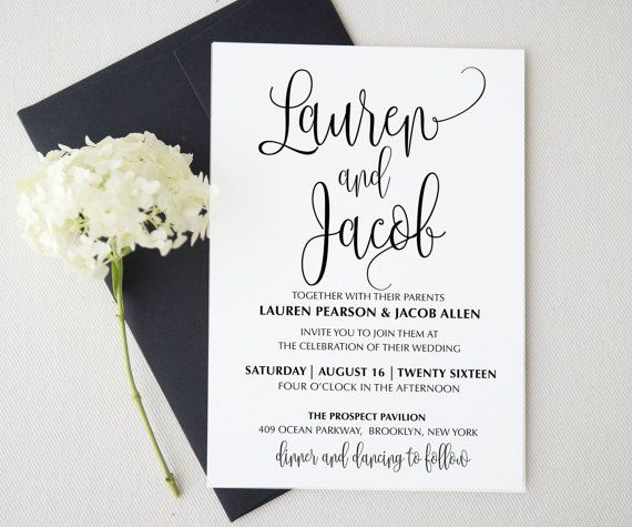 Create Invitation Template: Wedding Invitation Template . Printable Wedding Invitation
