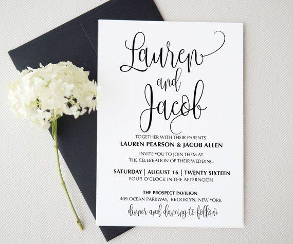 Wedding invitation template . Printable Wedding Invitation ...