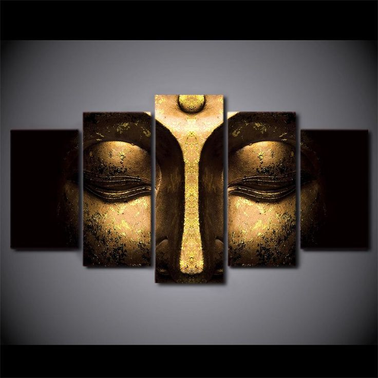 "5 Panel ""Art Of Peace"" Buddha Canvas Painting"