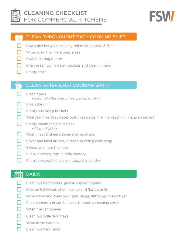 Daily Cleaning Checklist For Commercial Kitchens Designing Your Dish Pit Pinterest Daily