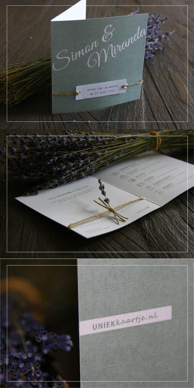 Bruiloft | Trouwkaart | romantisch | landelijk en natuurlijk | vintage touch | oud groen | karakter door bijzondere papier met linnen textuur | touw | lavendel | doodle | icoontjes |  vanaf € 1,95 per stuk | kies zelf de achtergrondkleur en / of het lettertype, zonder extra kosten | Studio Altena