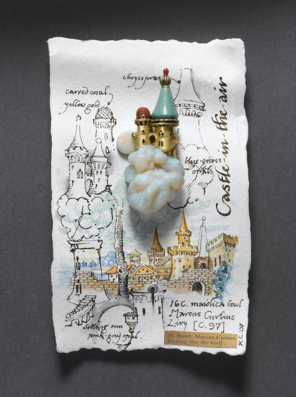 Castle in the Air design by Kevin Coates. 20ct. Gold, carved blue-green opal, polished opal, chrysopase, coral, 18ct. white gold pin.