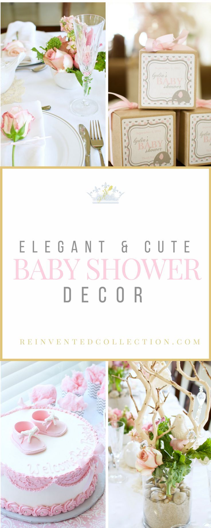 Must see this upscale girls baby shower in varying shades of pink, white, and gray. It's a French Country theme baby shower done on a budget.   Click here and see all three posts--- http://reinventedcollection.com/french-country-baby-shower-part-2/