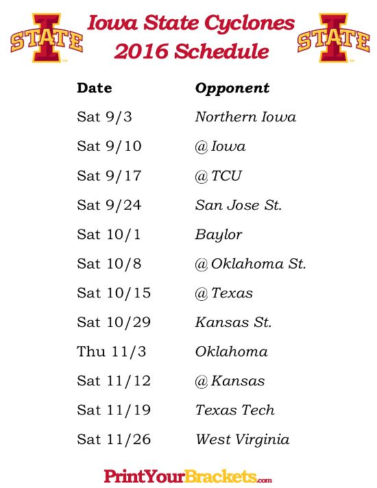 Printable Iowa State Cyclones Football Schedule 2016