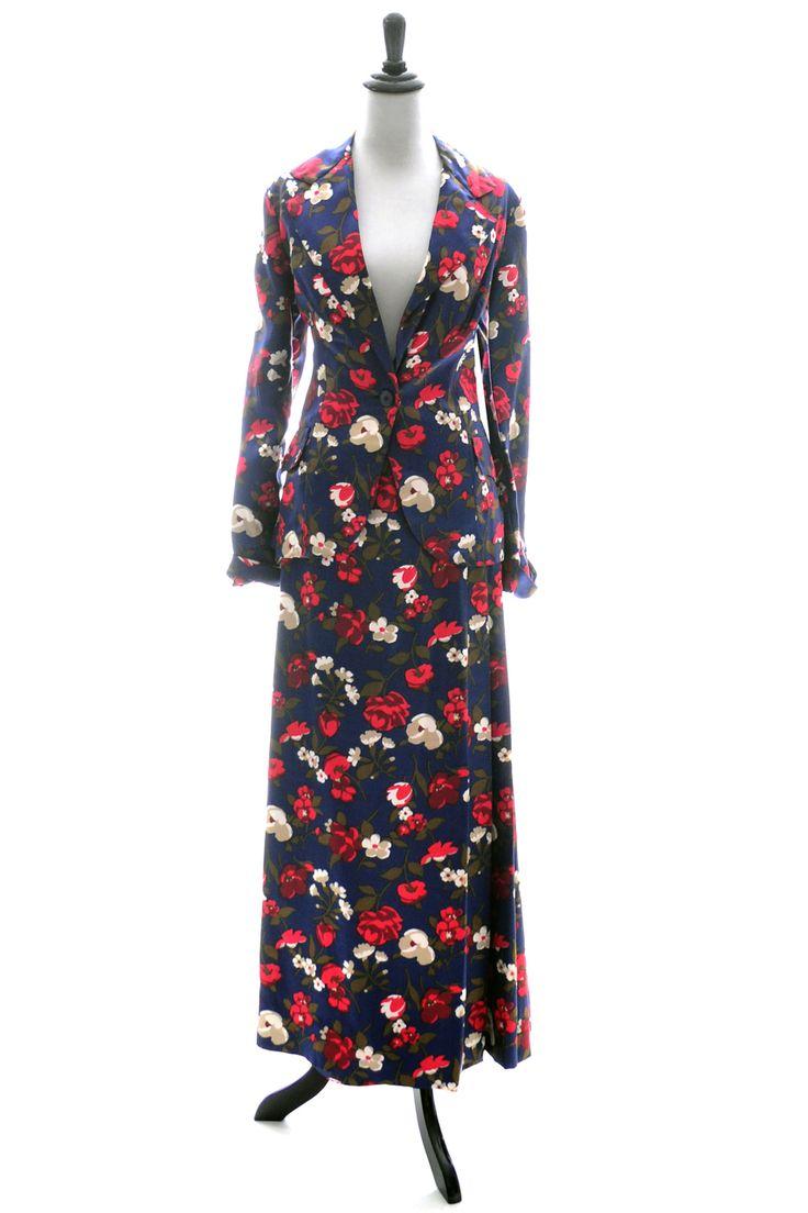 Dressing Vintage - Vintage I Magnin skirt and blazer suit in blue floral silk, $379.00 (http://dressingvintage.com/vintage-i-magnin-skirt-and-blazer-suit-in-blue-floral-silk/)