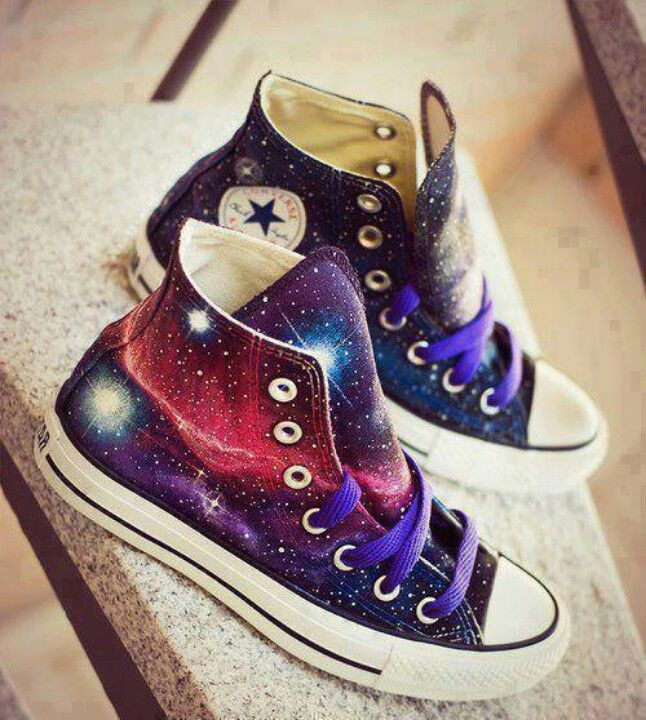 Converse high-tops :) Geez, the galaxy pattern makes me want them even more!
