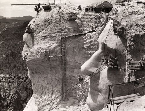 Thomas Jefferson at Mount Rushmore under construction, 1939. Learn more about the making of Mt. Rushmore.Photograph by Edwin L. Wisherd, National Geographic