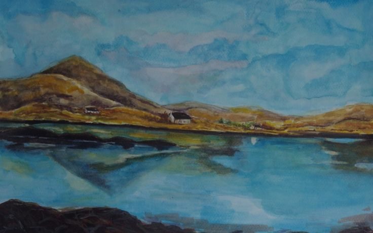 Connemara Reflections by Fiona Concannon on ArtClick.ie Irish Landscape Art watercolour