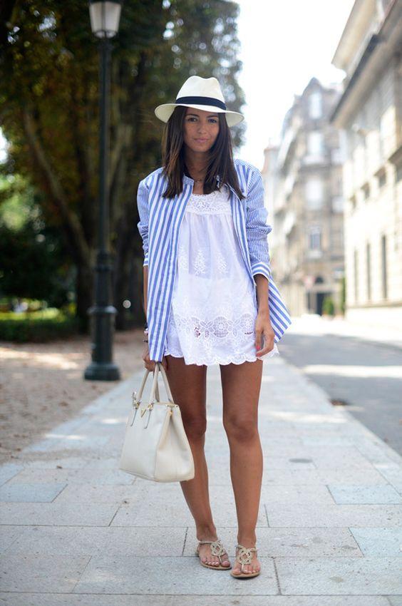 camisa-listrada-sobreposição-vestido-branco-renda-chapeu-fedora-panama-moda-2016