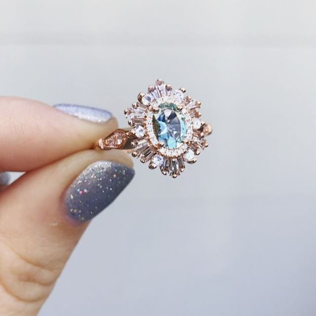 And here is Morgan and Natalie's beautiful ring in action - the rose gold Oval Hexagon with an aquamarine center and extra vintage detailing on the shank See their proposal in my previous post!