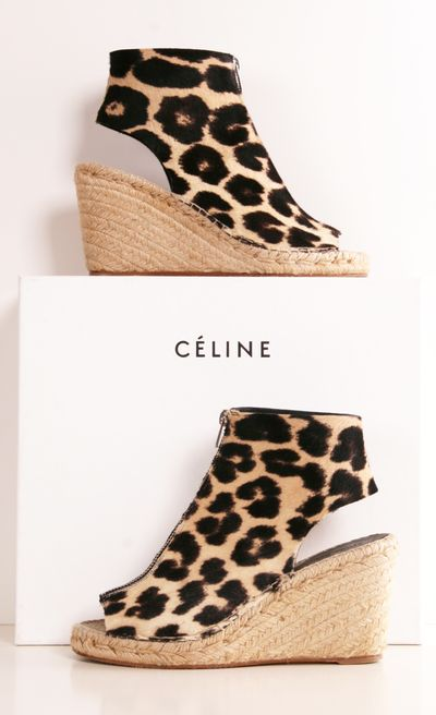 Celine Leopard 90mm Pony-Hair Wedges