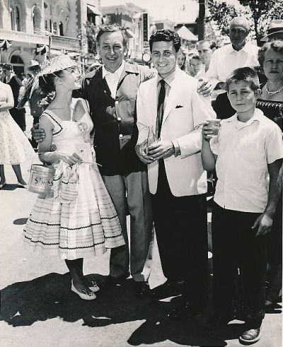 Walt Disney with Debbie Reynolds and Eddie Fisher on Disneyland's opening day, July 17, 1955