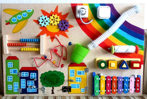 "Busy Board ""rainbow"", Activity Board, Sensory Board, Montessori educational Toy…"