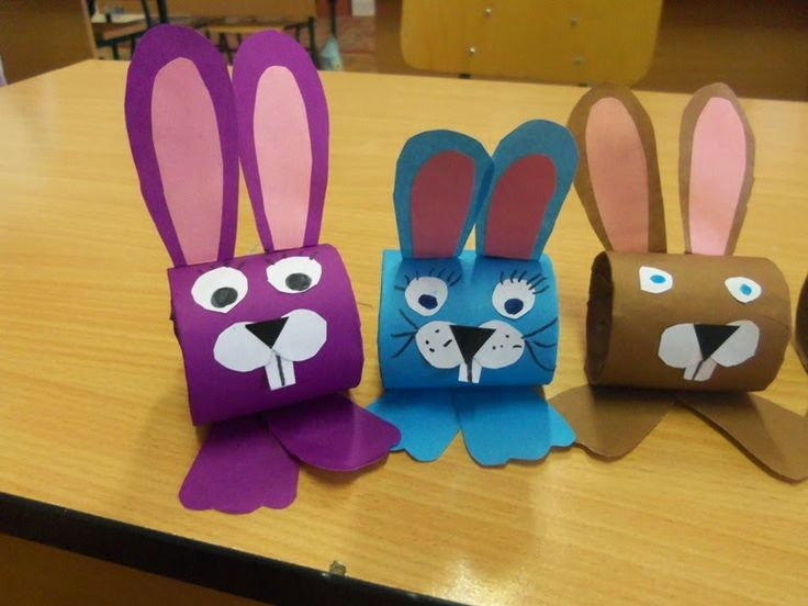 Easter bunny crafts . Toilet paper roll craft for kids.