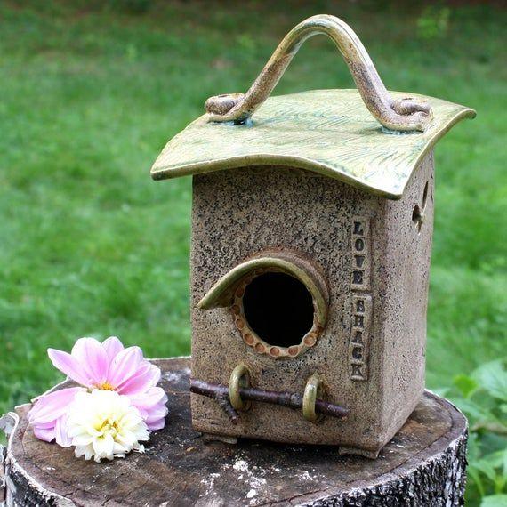Love Shack Ceramic Birdhouse Garden Art Cheery Indoor Home Decor Garden House Bird Shack Green Earthy Art Pottery Ceramic Birdhouse Bird House Kits Ceramic Birds