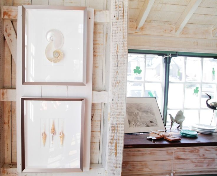 Beautiful White Washed Wooden Plank Walls For Home Interior With Shell Picture Decoration