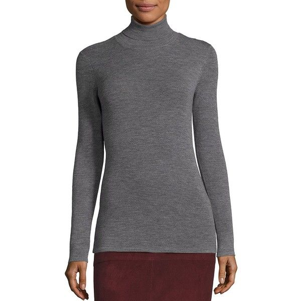 Eileen Fisher Merino Wool Rib-Knit Turtleneck Sweater ($99) ❤ liked on Polyvore featuring tops, sweaters, apparel & accessories, ash, long sleeve pullover sweater, turtle neck sweater, long sleeve sweater, sweater pullover and merino wool sweater