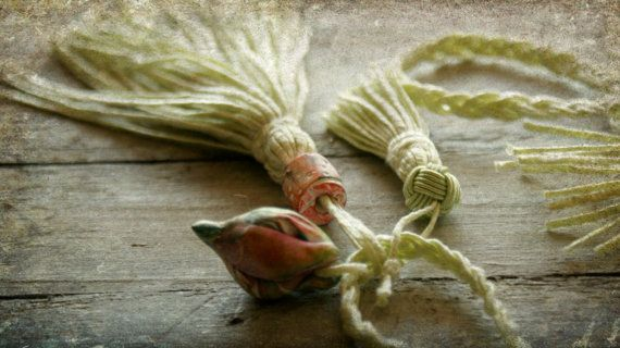 Tassel Necklace Pastel Lime Green Necklace by moonwingcrafts