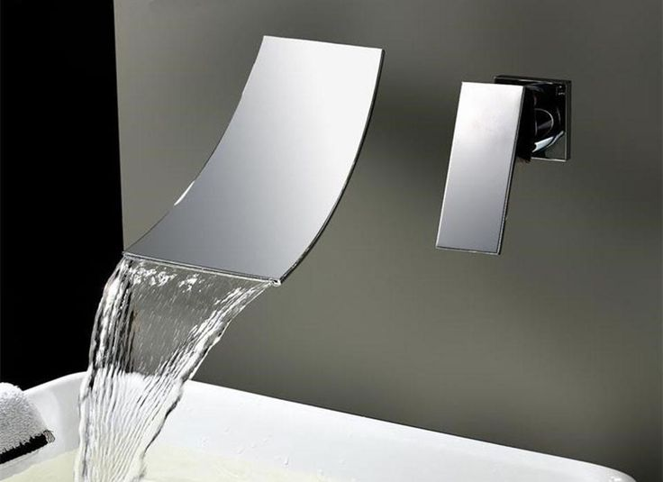 Waterfall Widespread Contemporary Bathroom Faucet (Chrome Finish)