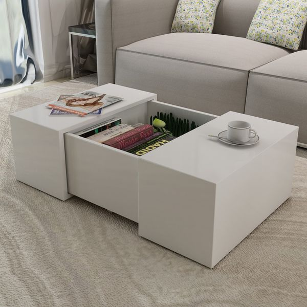 vidaXL Soffbord i vit högglans utdragbar