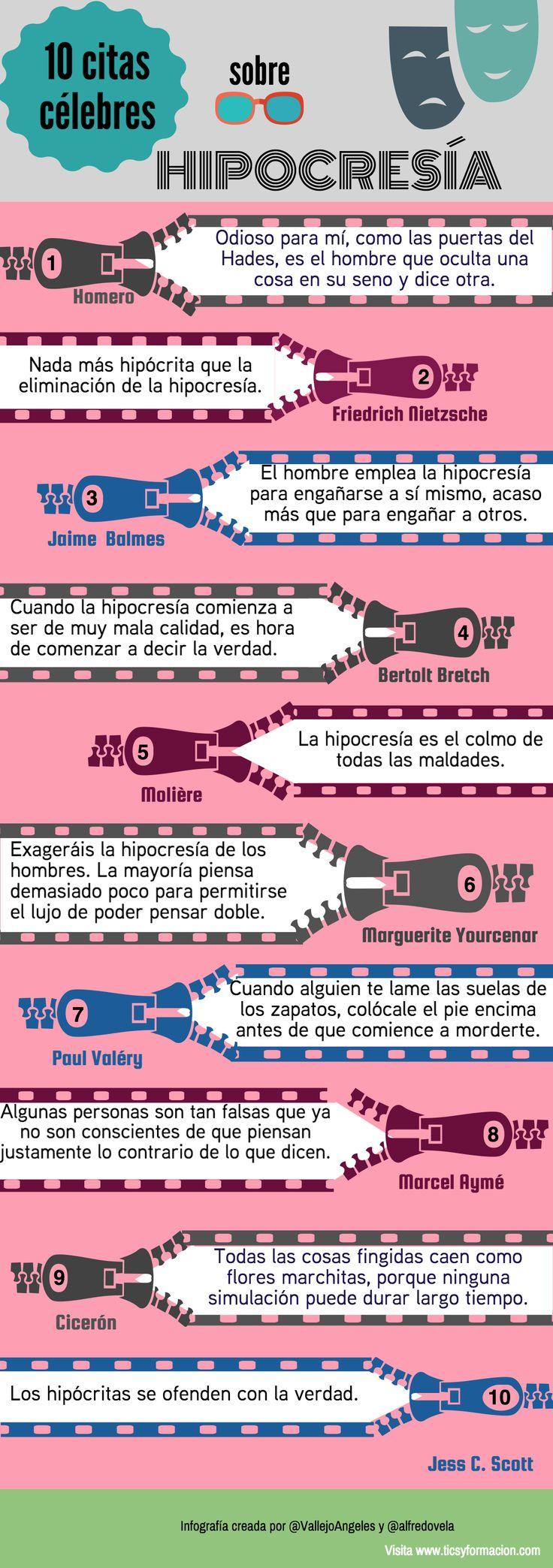 10 citas célebres sobre Hipocresía #infografia @rubendelaosa http://rubendelaosa.com/