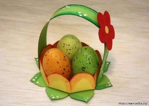 Корзинка из бумаги для пасхального яйца. Творчество с детьми (1) (620x443, 107Kb)