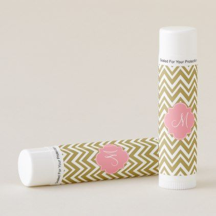 Monogram Gold and White Chevron Pattern with Pink Lip Balm - monogram gifts unique design style monogrammed diy cyo customize