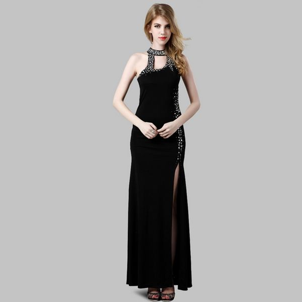 Bright Rhinestone High Vented Hollow Long Black Evening Dress