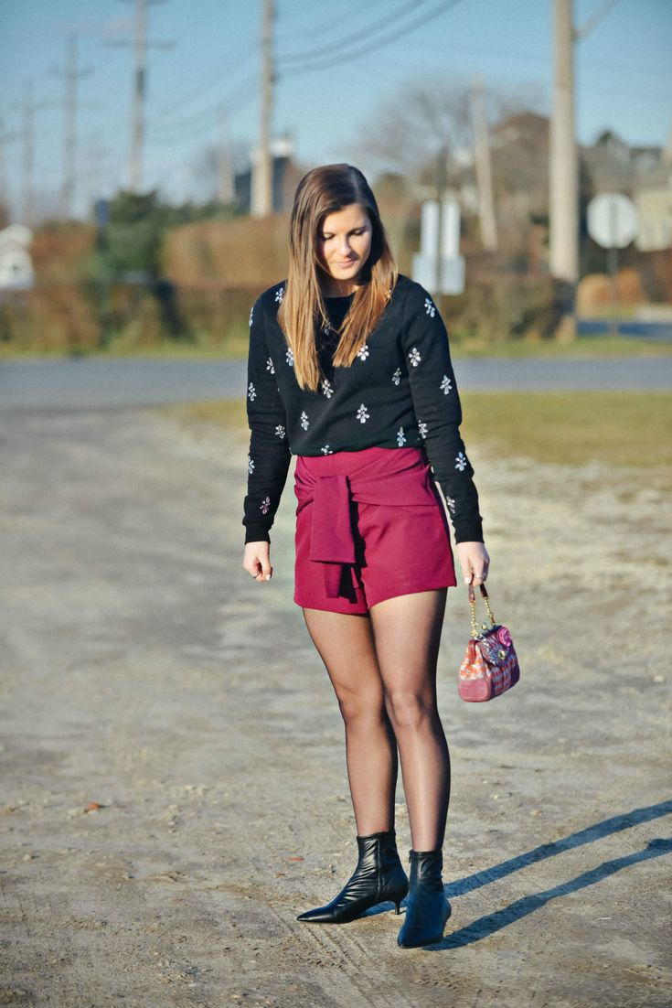 Embellished Sweater, Plum Burgundy Shorts, New Year's Eve Outfit Idea, Tilden of To Be Bright