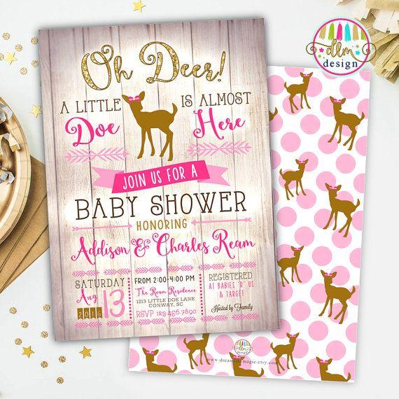 Oh Deer Baby Shower Printable Invite Deer Baby by DreamlikeMagic
