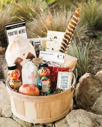 Welcome baskets held water, apples, illustrated maps of area attractions, honey-bear bottles filled with trail snacks, and decks of cards. Get more ideas from this DIY Big Sur wedding online!
