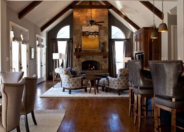 Stone Fireplace Surround White Wood Mantel Design Ideas, Pictures, Remodel, and Decor - page 48