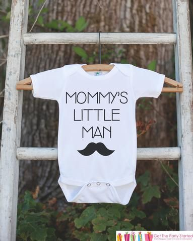 Mustache Mommy's Little Man Onepiece or Tshirt - Baby Boy's Outfit - Baby Shower Gift Idea - Little Man Bodysuit Outfit - Newborn Infant - Get The Party Started