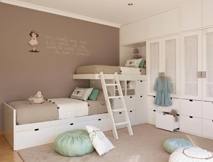 white beds and taupe walls