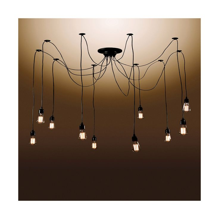 """Give your home an unexpected twist on style with this Warehouse Of Tiffany Chandelier Ceiling Lights – Black. With 10 bulbs and a totally customizable look, this light fixture is the """"wow"""" factor you're looking for in your dining area or entry way. Position each of the 10 cables in this chandelier where you like them, adjusting the length of each. This ceiling light, while a statement piece, coordinates easily in both traditional and modern déc..."""