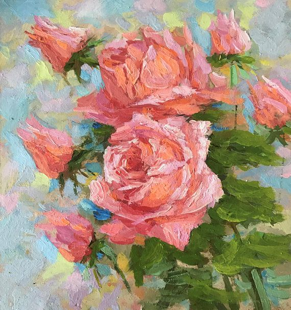 Title: Pink Roses; Size: 21.5H x 20W x 0.3 cm or 8.5H x 7.9W inches; Medium: Oil on panel board; - Artwork is original, titled, signed and dated by the artist, both front and back sides. - Classical fine art style. - Not Framed. You can easily frame it by yourself according to your interior style. Or you could put it on the bookshelf (for example) without any frame. - Tracked Worldwide Shipping in a cardboard box, standard delivery usually takes 16-21 days (depends on your location).