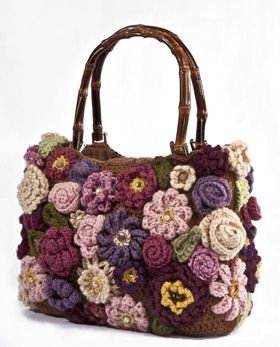 A beautiful crocheted bag made of flowers that won second place in 2011