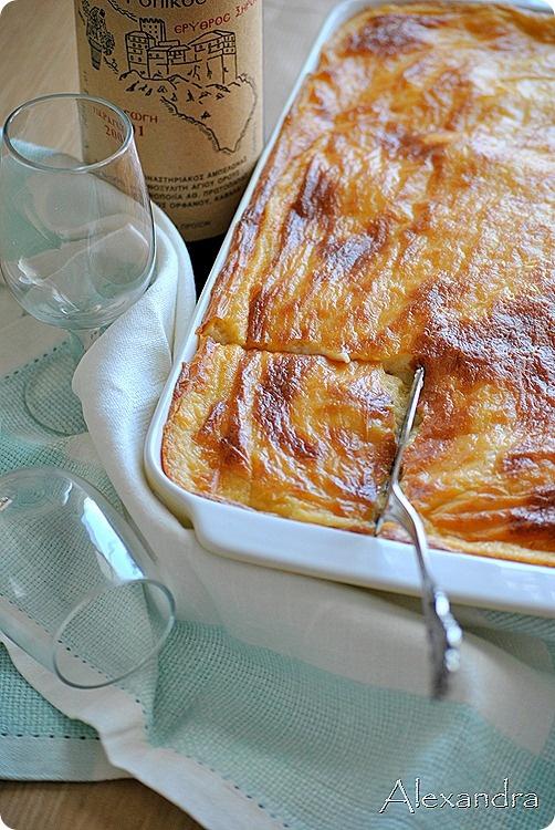 Greek pastitsio with cheese