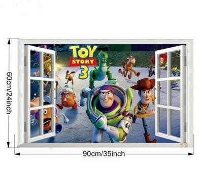 3D Window Toy Story Wall decals Art Removable Kids Nursery Room Decor