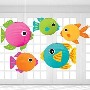 Fish lanterns 24cm 5pk these brightly coloured round for Fish paper lanterns