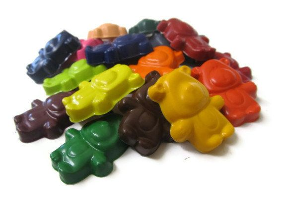 Teddy bear crayons set of 20 party favors by KagesKrayons on Etsy