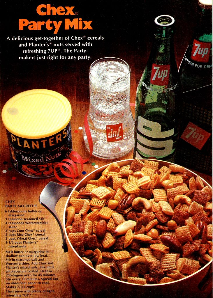 Original Chex Party Mix recipe..This recipe debuted in the 1950s. The images here are from the back of a box of Corn Chex cereal from the 1970s..