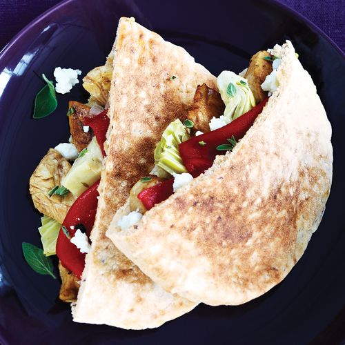 Mediterranean Chicken Pitas with Roasted Peppers