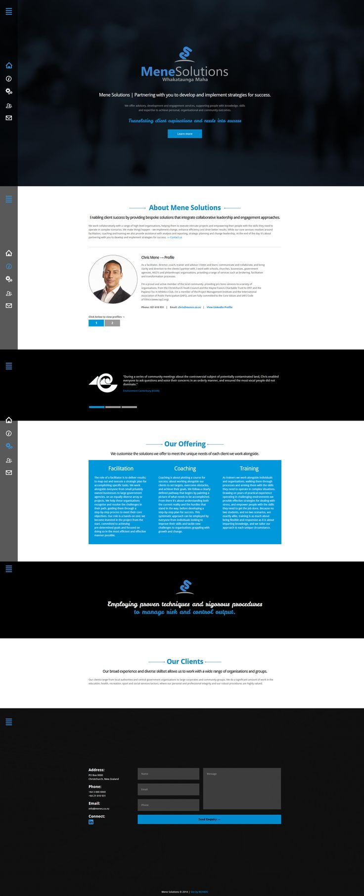 Mene Solutions one page parallax scrolling website