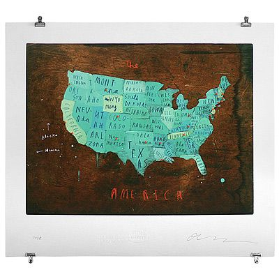 PLACES IN AMERICA - OLIVER JEFFERS (comes with binder clips for hanging and 102 pins- 1 red, 1 blue, 100 orange)