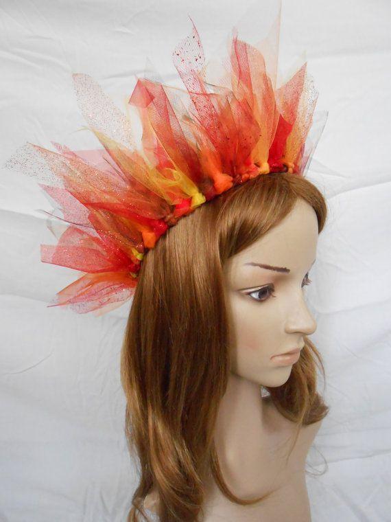 Fire Crown Phoenix Dragon Burning Man Headpiece Hell by FlowerFair