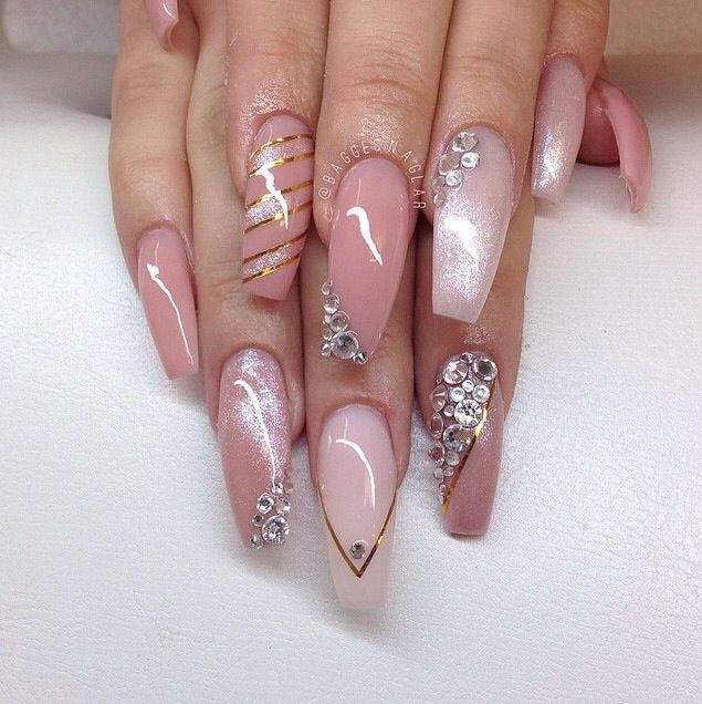 Health & Beauty Analytical Magenta Pink Glitter Hand Painted False Fake Nails Long Tapered Square 112 Modern Design Artificial Nail Tips